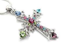 w Austrian Crystal Cross Multi Colored Pendant Women Necklace NEW