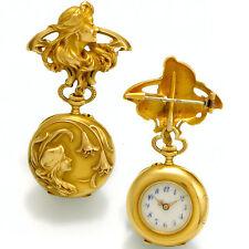 Wonderful 18K Gold Embossed Art Nouveau Ladies Lapel Watch & Matching Pin CA1909