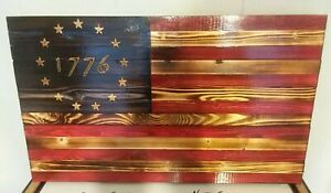 """24""""x13"""" Handmade Carved 13 Stars Wood American Flag Colonial 1776 Betsy Ross"""