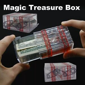 Treasure Box Clear Joke Dollar Magic Brainteaser Puzzle Get Money Out Birthday