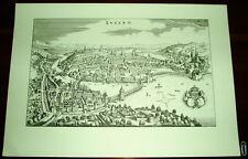 Luzern alte Ansicht Merian Druck Stich 1650 Vogelschau Städteansicht Schweiz