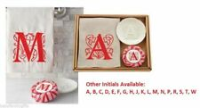 Mud Pie Holiday Initials Christmas Initial Towel Soap & Dish 3 Piece Set 4404134