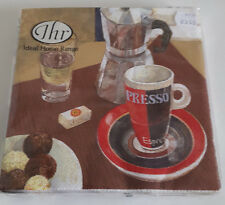 9 packs of 20 Lunch Paper Napkins. Coffee Break Brown. 33x33cm. 3ply IHR 0707909