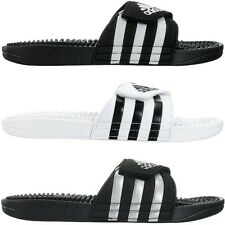 Adidas Adissage men's slides black white silver pool shower sandals slippers NEW
