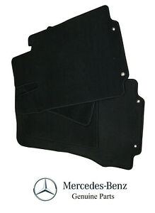 For Mercedes Benz W220 Non-4Matic 00-06 4 Pcs Black Carpeted Floor Mats Genuine