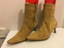 NEXT GENUINE SUEDE ANKLE BEIGE SIZE 7/41 WOMENS LADIES HEELS BOOTS SHOES ZIP(NT