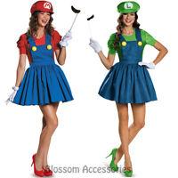 K125 Womens Super Mario Luigi Brothers Plumber Fancy Dress Game Costume