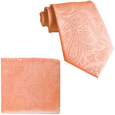 New Men's Polyester Woven Neck Tie necktie & hankie set paisley Peach wedding