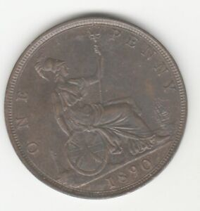 Victoria  1890 penny traces of Lustre GEF. Lovely coin