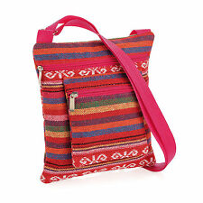 Ladies Small Cross Over Pink Tribal Print Bag Adjustable Shopping Zip
