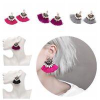 New Fashion Crystal Rhinestone Tassel Drop Dangle Ear Stud Earring Women Jewelry