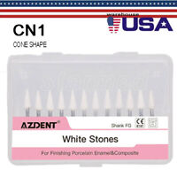 Dental Cone Mounted White Stone Polishing Burs- FG CN1 Abrasion Points Bur 12/pk