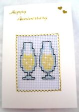 """Wedding Anniversary Card Completed Cross Stitch Flutes 6x4"""""""