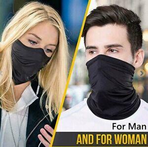 Black Face Covering Mask Bandana Seamless Snood Tube Scarf Neck Sport Cover UK