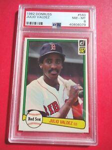 Julio Valdez, 1982 Donruss Baseball card #560, Red Sox, SS, PSA Graded NR-MT 8