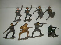 "8 MARX GERMAN WWII SOLDIERS OF THE WORLD Plastic 6"" ARMY FIGURE VINTAGE LOT"
