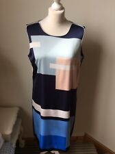 MEXX Navy Blue Sleeveless Tunic Dress Size 16 Retro 1960's Inspired Pop Art
