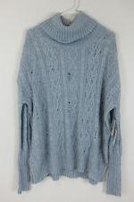 Free People Distressed Cowl Neck Sweater - Womens Medium - Light Blue - NWT