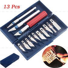 13Pcs Exacto Style Hobby Knife w/Blades Set For Multi-Purpose Crafts Art Cutting