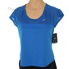 NIKE Women's X-LARGE Mesh Trim RUNNING CROP BLUE TOP Cap Sleeves Dri-Fit SWOOSH