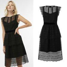 New MONSOON Phillipa Black Lace Shift A-Line Cocktail Dress Size 16 £99 BNWT LBD