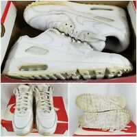 Nike Air Max 90 Leather True White/True White Shoes 302519-113 Mens Size 9.5