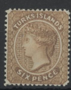 Turks Island Queen Victoria 6d yellow-brown stamp (SG59) dated 1887 mint