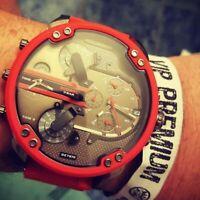 DIESEL Original DZ7370 Men's Mr Daddy 2.0 Gunmetal Dial Red Silicone Strap Watch