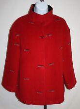 Honsen Womens Ladies Red Winter 3/4 Sleeve Jacket Coat US Sz L / Asian Size XXL