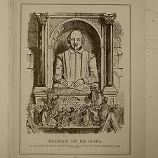 """7x10 """"PUNCH CARTOON 1906 pag. 173 Shakespeare & THE pigmies, trecentesimo anniversario"""