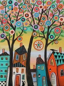 Three Tree Town 12 x 16 ORIG CANVAS PAINTING Folk ART Whimsy PRIM  Karla Gerard