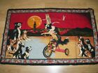 PRINT - BICYCLE DOG THEMED WALL CARPET - 84X134 CM good condition and solid