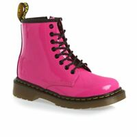 Dr Martens Delaney 8 eyelet Boot Hot Pink Patent Leather with laces and zip UK 8