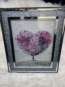 PINK HEART BLOSSOM TREE MODERN GLITTER LIQUID ART CRUSH FRAME 55x45cm Wall Hung