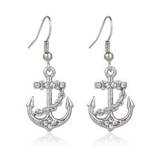 Anchor Fashionable Earrings - Fish Hook - Sparkling Crystal