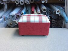 footstool / pouffe upholstered in Laura Ashley Highland check  cranberry