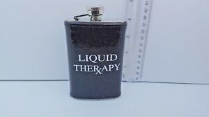5oz BLACK with Metallic silver sparkles Cheaper Than Therapy Flask
