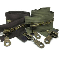Size 8, 2 Way, Antique Brass Zips - Open end Zipper in Brown, Black #8 (AB8-2W)