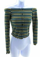Polly & Esther Off The Shoulder Top Juniors Shirt Green with Yellow Stripes