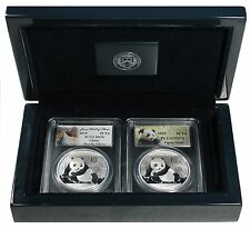 Two 2015  China Silver Pandas, PCGS MS-70 in Gift Box  free shipping