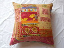 "16""OLD VINTAGE COTTON HANDMADE PATCHWORK KANTHA STICH CUSHION COVER CRAZY"