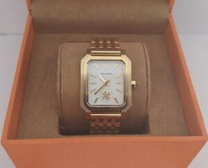 Tory Burch Robinson Bracelet Watch TBW1500 Gold Tone Steel Square NIB