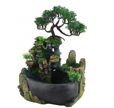 Waterfall Fountain Desktop Water Indoor Decor Led Rockery Table Home Feng Shui