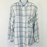 Chicos 3 Blue Plaid Button Down Shirt Blouse Long Sleeve Chest Pocket Soft  XL