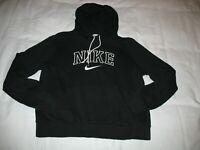 Nike Hoodie Sweatshirt Sz Youth L Large Black Swoosh Logo Girls Juniors