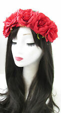 Red Rose Flower Hair Crown Sugar Skull Halloween Garland Headband Headpiece 827