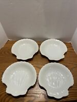 4 Vintage Natural Seashell Scallop Appetizer plate sea Shell Plates