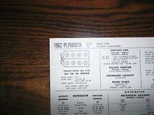 1962 Plymouth Super Fury Colden Commando 361 CI V8 SUN Tune Up Chart Great Shape