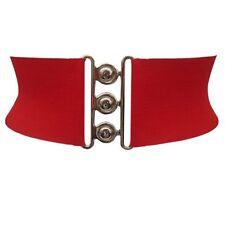 Cinturón para mujer Negro Rojo Blanco 7.6cm ancho Elástico moderno
