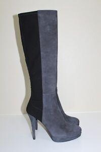New sz 10 N Stuart Weitzman Skyline Platform Grey & Black Suede Boot Heel Shoes